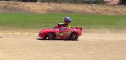 Dad Tunes Up His Kid's McQueen Hotwheel