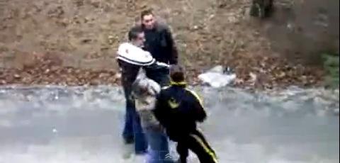 Two Men Versus Boxer