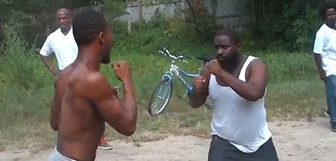 Two Black Guys Backyard Brawl Each Other