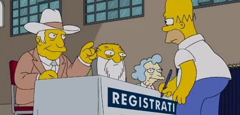Homer Simpson Votes In The 2012 Election