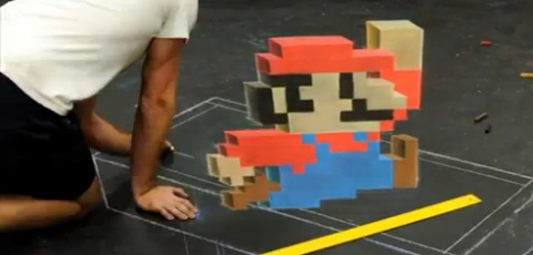 Super Mario 3D Drawing Using Chalk